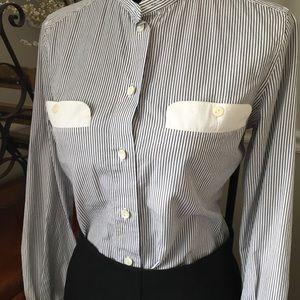 Dolce & Gabbana collarless striped shirt